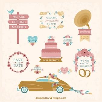 Colección de dibujado a mano elemento de boda de la vendimia