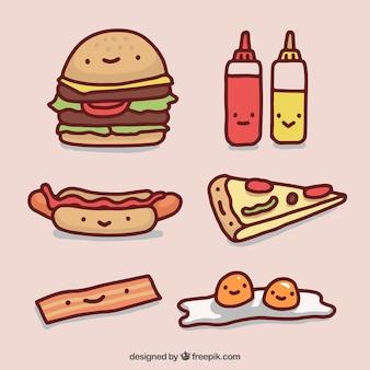 Colección de dibujos de comida rápida