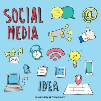 Colección de dibujos de medios sociales