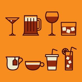 Colección de diferentes bebidas