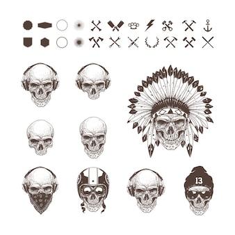 Colección de diferentes calaveras