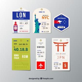 Colección de diferentes etiquetas de ciudades