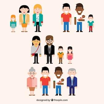 Colección de diferentes tipos de familia