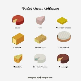 Colección de diferentes tipos de quesos