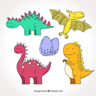 Colección de dinosaurios de colores dibujados a mano
