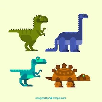 Colección de dinosaurios geométricos en diseño plano