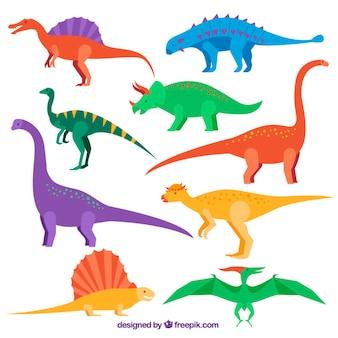 Colección de dinosaurios planos de colores