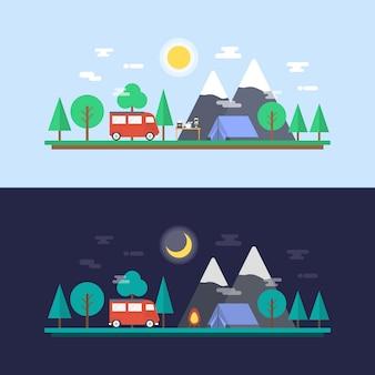 Colección de diseños de camping