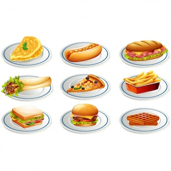 Colección de diseños de comida rápida