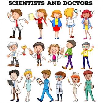 Colección de diseños de doctores y científicos