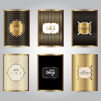 Colección de diseños de folletos dorados con estilo