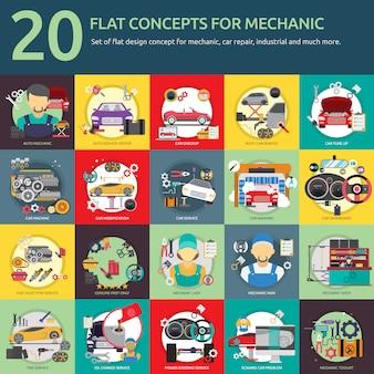 Colección de diseños de mecánica