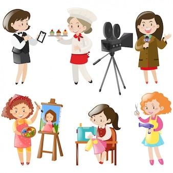 Colección de diseños de mujeres trabajando