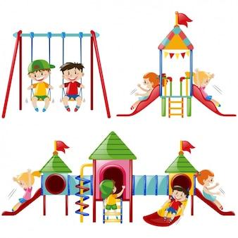 Colección de diseños de niños jugando