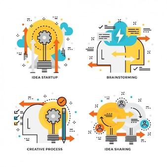 Colección de diseños de pasos de un proyecto