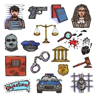 Colección de diseños de policia