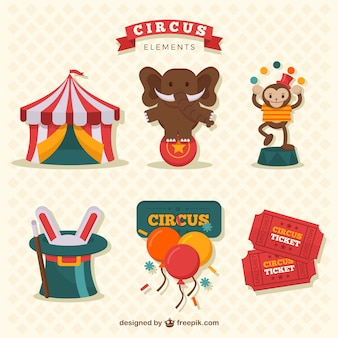 Colección de divertidos elementos de circo