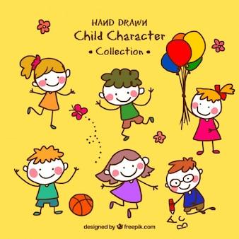 Colección de divertidos niños dibujados a mano