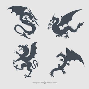 Colección de dragones siluetas
