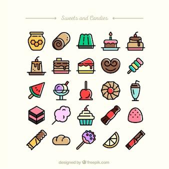 Colección de dulces y caramelos iconos