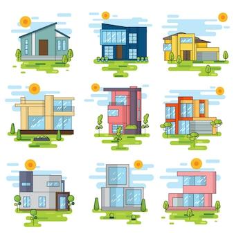 Colección de edificios a color