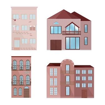 Colección de edificios rosas