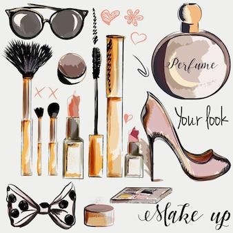 Colección de elementos cosméticos