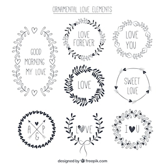 Colección de elementos de amor ornamenales