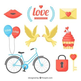 Colección de elementos de amor