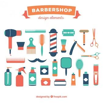 Colección de elementos de barbería
