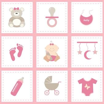 Colección de elementos de bebé