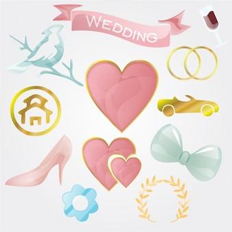 Colección de elementos de boda a color