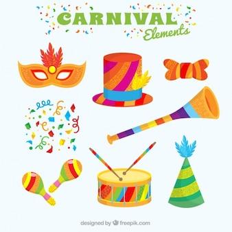 Colección de elementos de carnaval coloridos