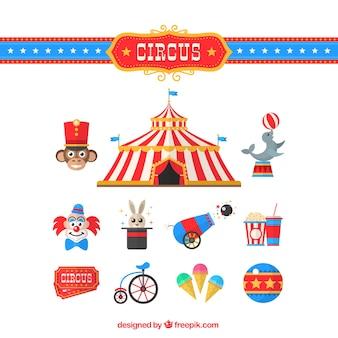 Colección de elementos de circo en un diseño plano