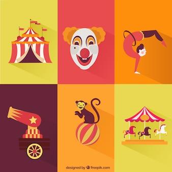 Colección de elementos de circo