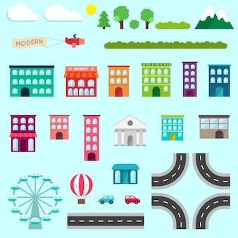 Colección de elementos de ciudad de diseño plano
