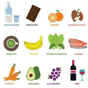 Colección de elementos de comida