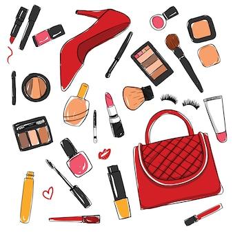 Colección de elementos de cosméticos