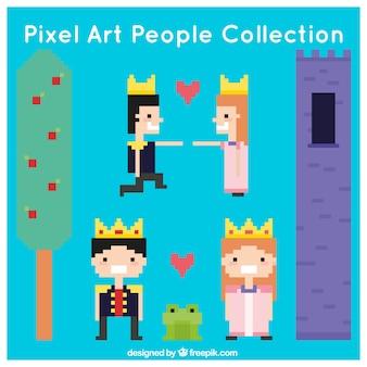 Colección de elementos de cuento de princesa y príncipe pixelados