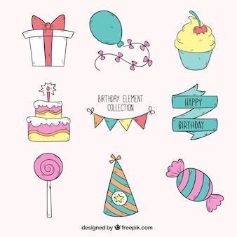 Colección de elementos de cumpleaños dibujados a mano