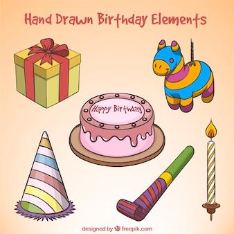 Colección de elementos de cumpleaños