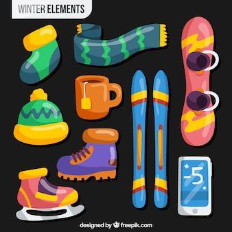 Colección de elementos de deportes de invierno