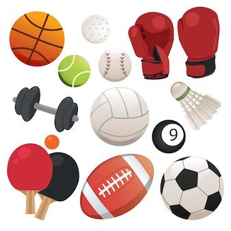 Colección de elementos de deportes