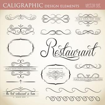 Colección de elementos de diseño caligráficos