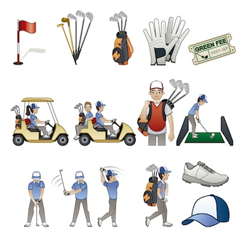 Colección de elementos de golf