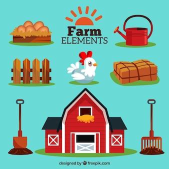 Colección de elementos de granja estilosa