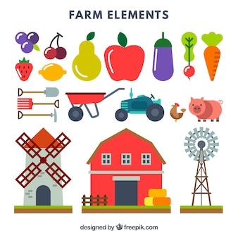 Colección de elementos de granja y frutas
