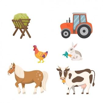 Colección de elementos de granja