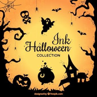 Colección de elementos de halloween de tinta