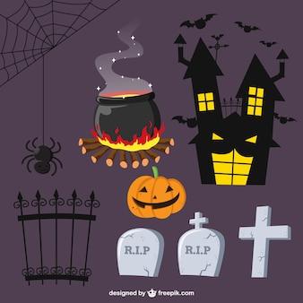 Colección de elementos de halloween escalofriantes